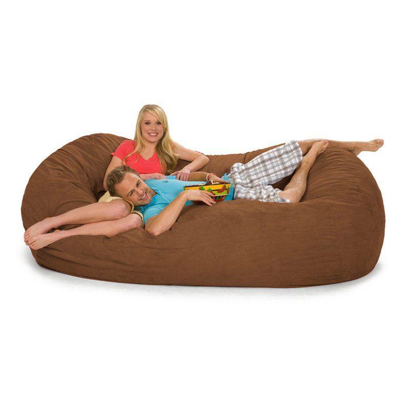 relax sack 7 ft microsuede foam bean bag lounger earth 7ov ms003