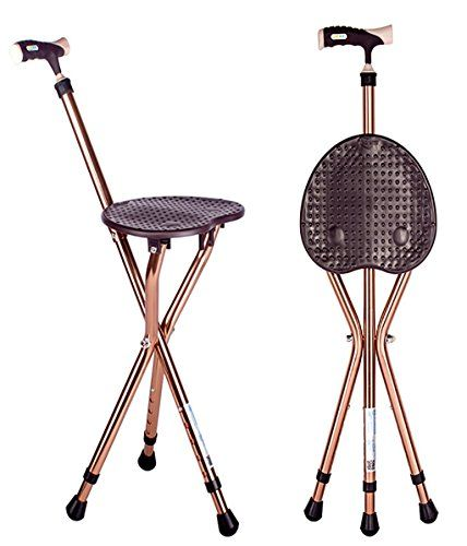 Walking Cane Chair Red Kitchen Chairs Gm Seat Folding Stick Tripod Spectator For Men And Women Lightweight Travel Plus Mobility Adjustable