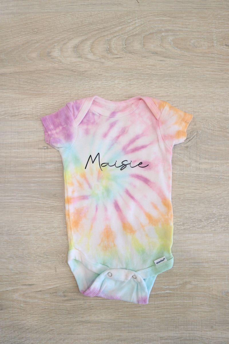 Personalized Tie Dye Rainbow Baby Onesie Or Kids Tshirt Etsy In 2021 Tie Dye Rainbow Rainbow Baby Onesie Tie Dye Fashion [ 1200 x 800 Pixel ]