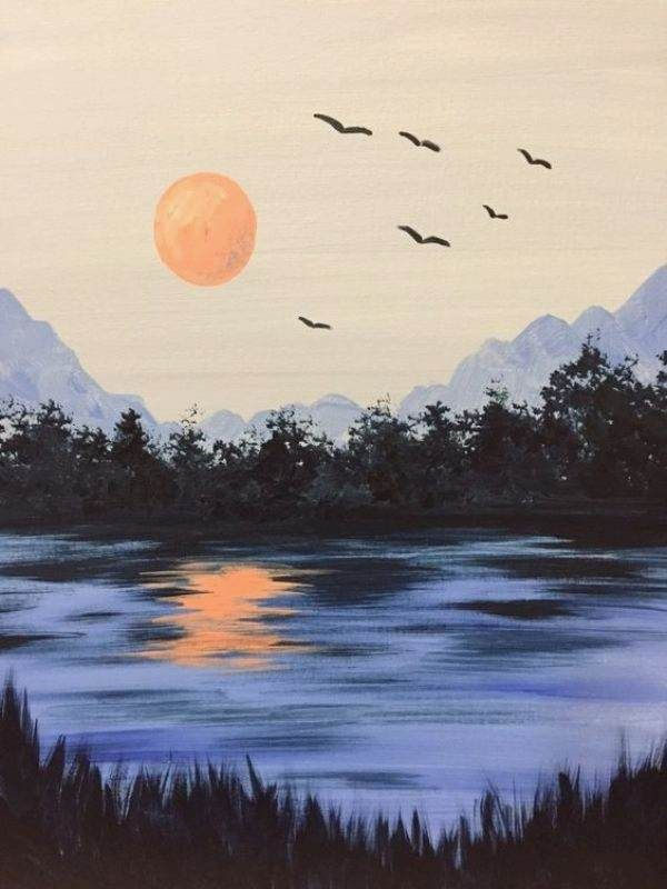 40 Simple and Easy Landscape Painting Ideas - #Easy #Ideas #Landscape #Painting #Simple