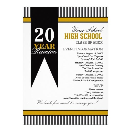High School Class Reunion Custom Invitation  Class Reunion Invitation Template