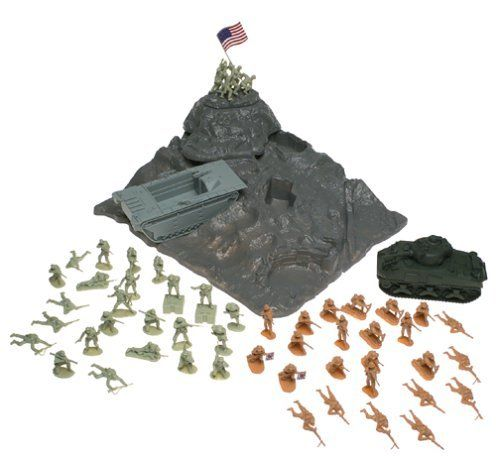 BMC Iwo-Jima Plastic Army Men Boxed Playset: 52 Pieces 54mm Figures, Island, Sherman Tank, Amtrack Amphibious Vehicle by BMC. $97.94. Size: 54mm, Figures stand up to 2-1/2 inches tall (64mm). Scale: Approximately 1/32nd. Sherman Tank, Amtrack Amphibious Assault Vehicle, Mountain. Packaging: Large Box featuring artwork by Mort Kunstler. Quantities: 48 Figures, 6 Marines Raising Flag,. BMC Iwo-Jima Army Men play set with over 50 pieces. Figures include 24 Marines in...