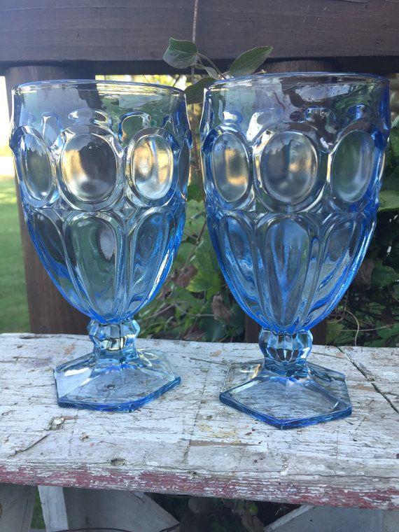 Mid Century Glassware Vintage Footed Glassware Vintage Glassware Blue Glasses Cocktail Glassware Azure Blue Glassware Set of 7