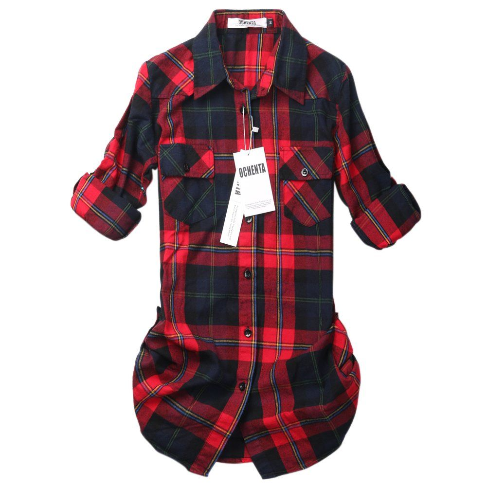Red flannel shirts  OCHENTA Womenus Mid Long Style Roll Up Sleeve Plaid Flannel Shirt