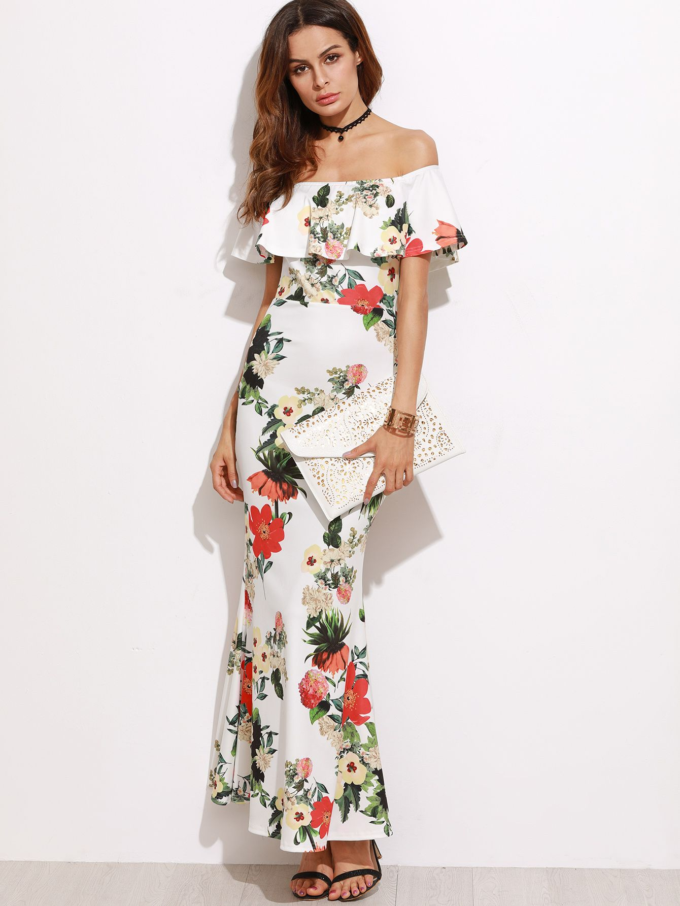 32602f7222 Online shopping for White Flower Print Off The Shoulder Slit Back Fishtail  Dress from a great selection of women s fashion clothing   more at  MakeMeChic.