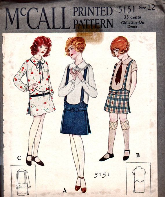 UNCUT Vintage 1920\'s McCALL Pattern 5151 - Art Deco Style Slip-On ...