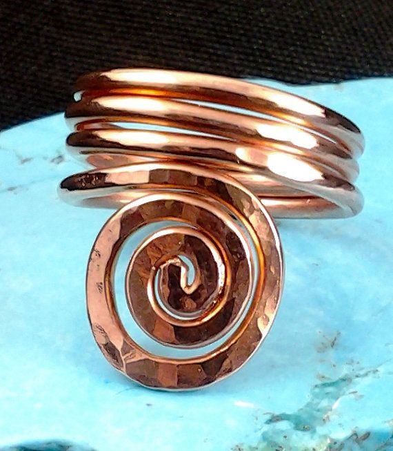 Solid Copper Thumb Ring, Spiral Ring Design , Copper ...
