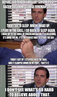 Michael Scott The Office Meme Funny Quote Injury George Foreman Grill