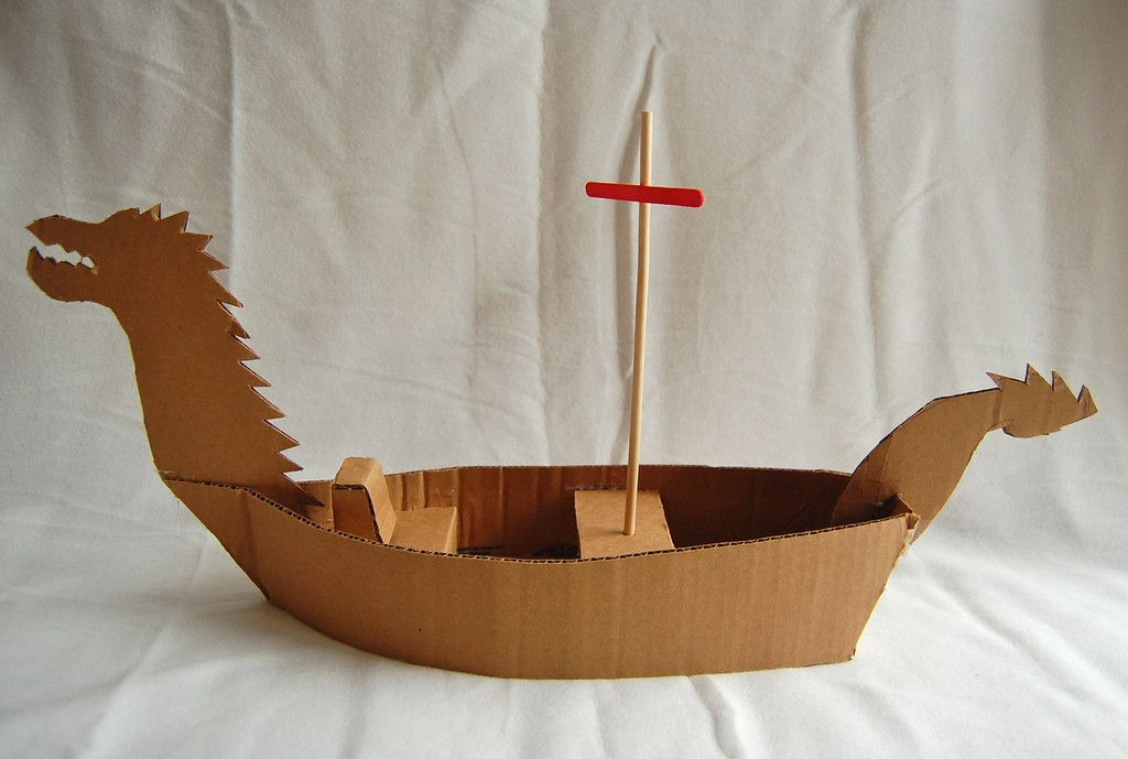 How to make a cardboard boat oh the many possibilities for Cardboard pirate ship template