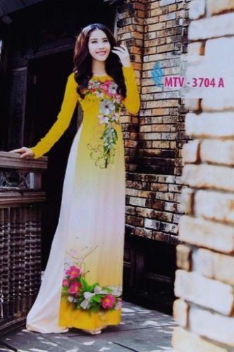 6682ddcfc ao-dai-yellow-floral | Áo Dài ( Vietnamese Traditional Dresses ...