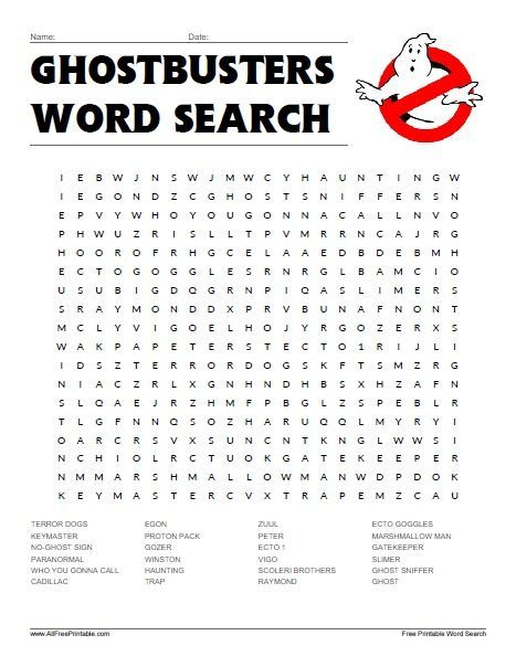 Ghostbusters Word Search Word Search Puzzles