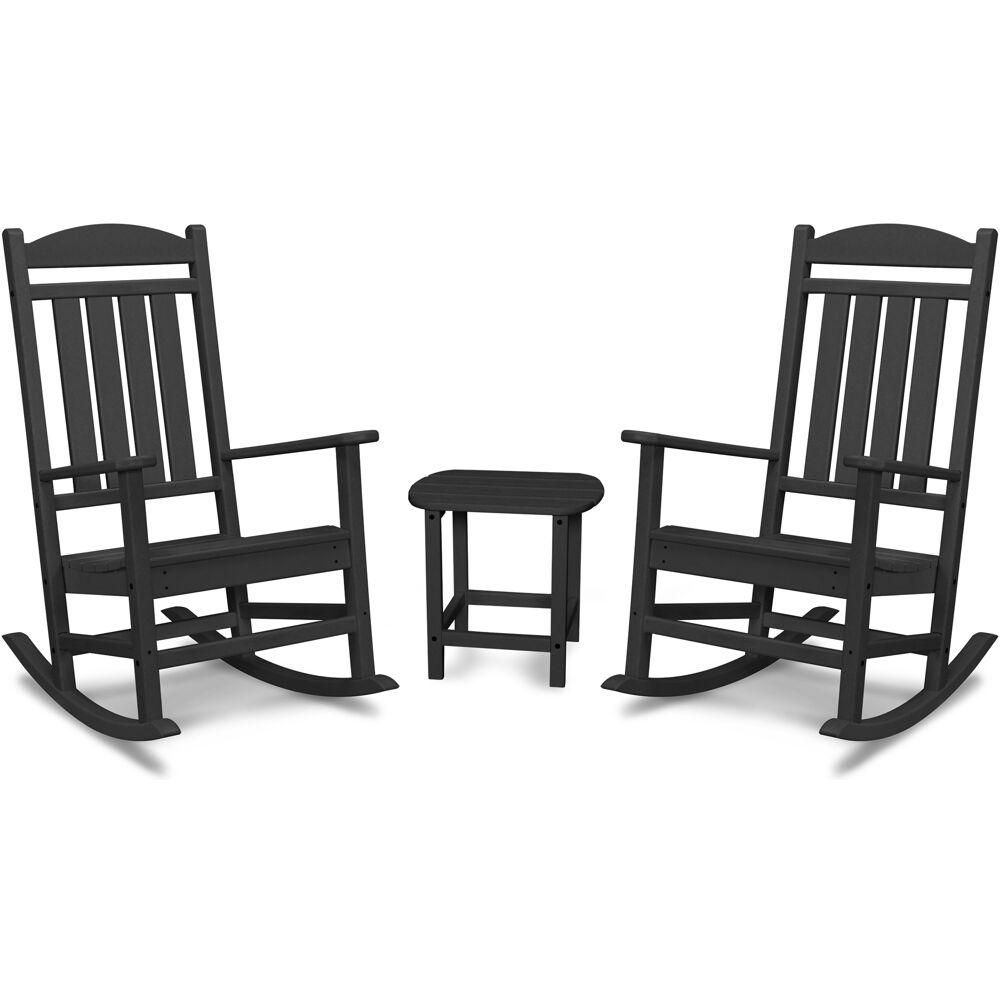 Hanover Pineapple Cay 3 Piece All Weather Black Plastic Patio Rocking Chair Set Pine3pc Blk Rocking Chair Porch Patio Rocking Chairs Rocking Chair