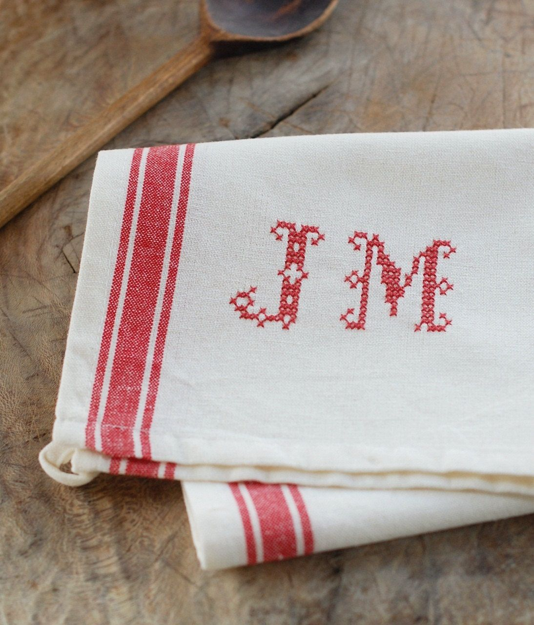 Red Kitchen Hand Towels: Monogrammed French Red Stripe Kitchen Towel