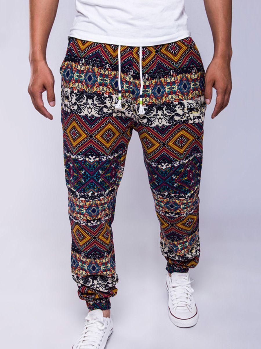 8413df21d92 Lace-up Ethnic Print Linen Cotton Loose Men s Casual Pants