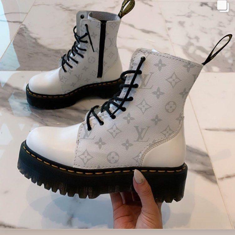 """ShhCustoms on Instagram: """"White LV custom Dr.Martens. many"""