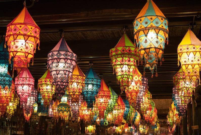 Indian Traditional Lamp Shade Lamp Pendant Light Decor Lamp Bohemian Lamp Boho Lanterns Decorative Lampshade Handmade 5 PC Cotton Lanterns