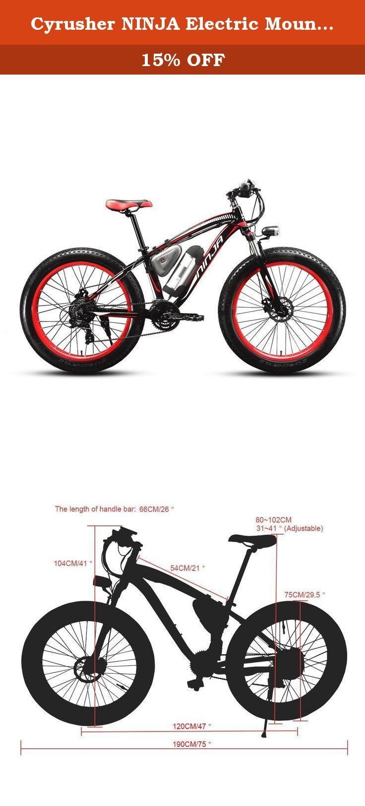ce2c12a28c1 Cyrusher NINJA Electric Mountain Bike Fat Tire with Lithium Battery and  Battery Charger. Cyrusher NINJA