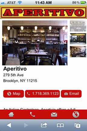 Mobile site made for Aperitivo in Park Slope, Brooklyn. www.mainstreetcomplete.com