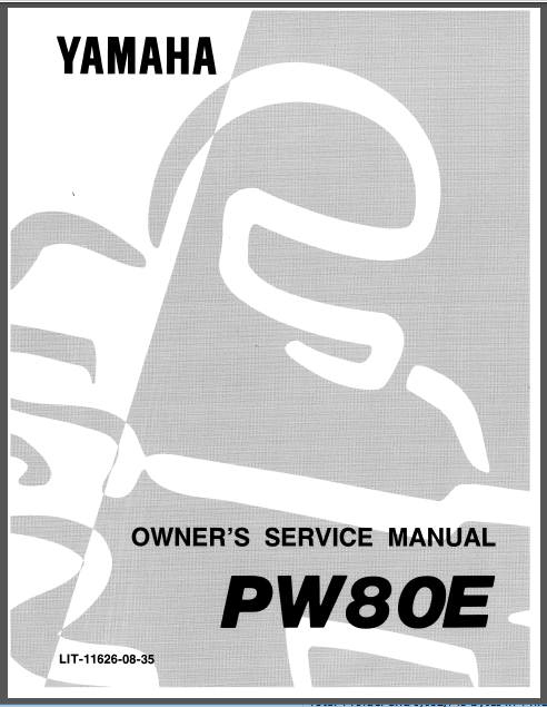 Yamaha Pw80 Pw 80 Y Zinger 1993 Service Repair Workshop Manual Manual Repair Yamaha