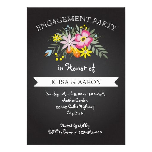 Chalkboard pink flowers wedding engagement party invitation. #engagement #invitation