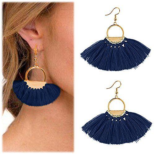 93bcf532805e68 Hestya 2 Pairs Tassel Earrings for Women Girls Handmade 3 Tiered Tassel  Dangle Earrings and Gold Hoop Earrings (… | 1000 Best Hoop Earrings and  Jewelry in ...
