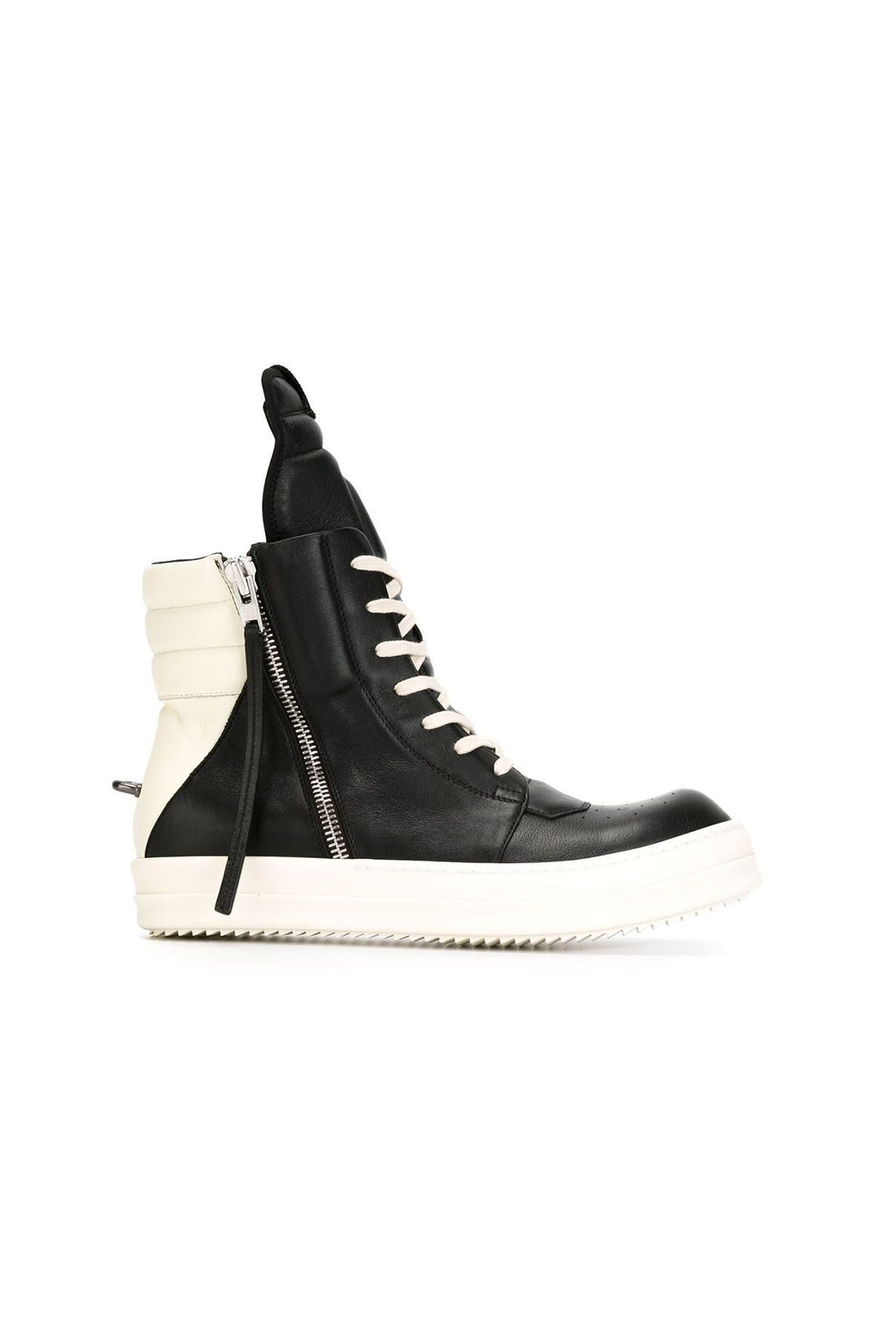Black calf leather Geobasket hitop sneakers from Rick Owens featuring a  round
