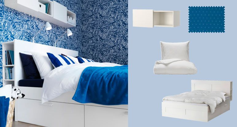 BRIMNES white bed with storage boxes and headboard with storage ...
