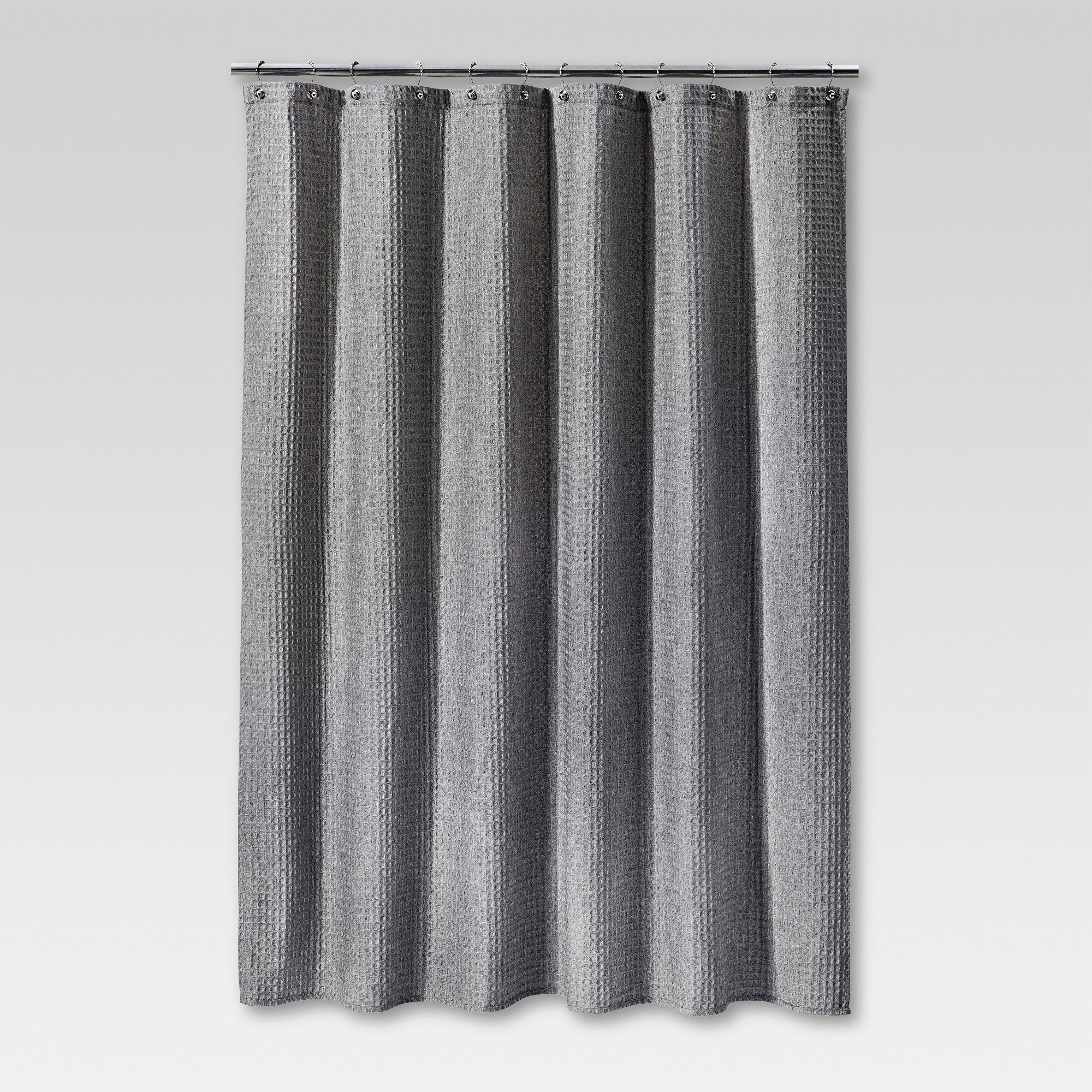 Heathered Waffle Shower Curtain Gray Threshold White Gray