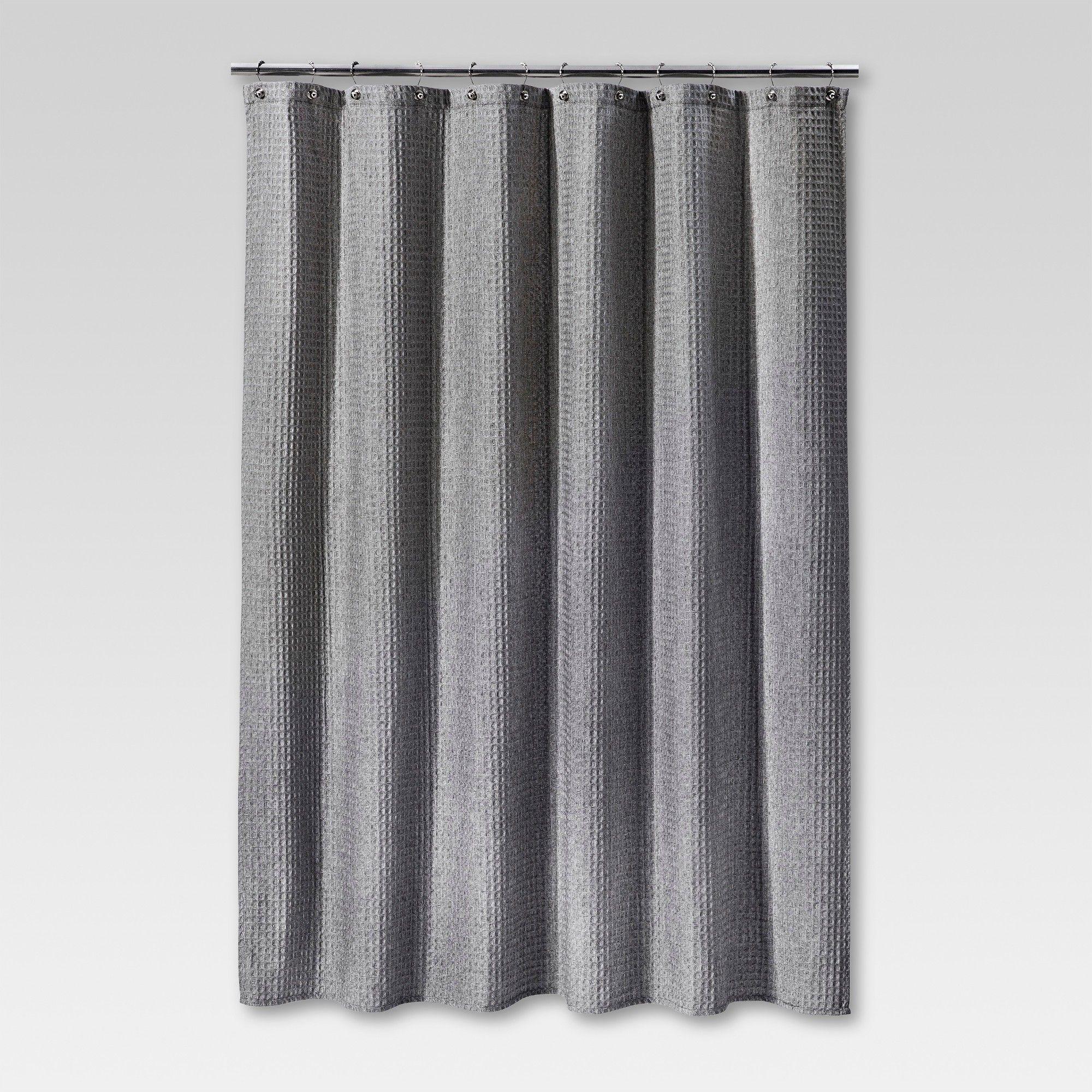 Heathered Waffle Shower Curtain Gray Threshold White Gray