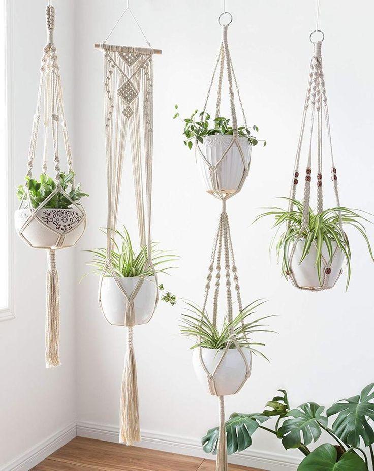 Set of 4 Macrame Plant Hanger Hanging Planter Basket Flower Pot Holder