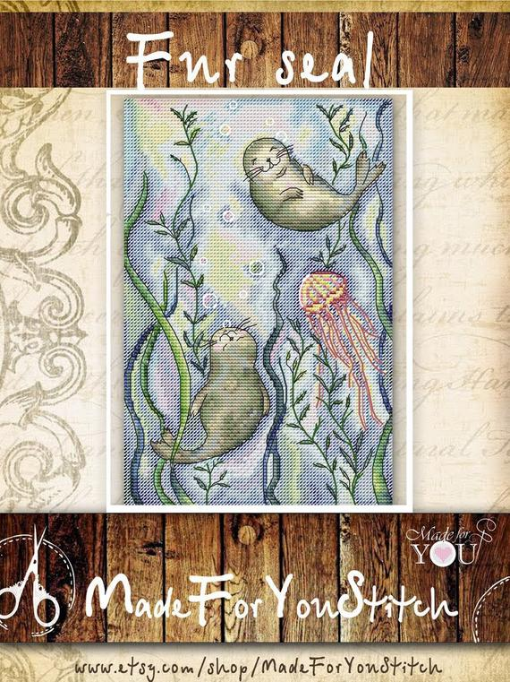 Jellyfish in the Sea ~ DIY Counted Cross Stitch Pattern ~ Marine Life