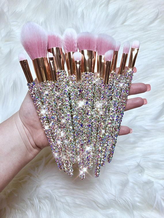 Photo of 12 pieces rose gold bling makeup brushes with pink bristles – http://embassy-toptrendspint.blackjumpsuitoutfit.tk