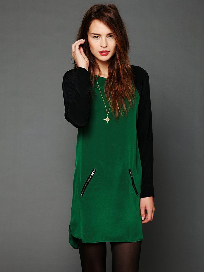 love the green & black combo - feels edgy than typical party wear (Free People Color Block Raglan Dress)