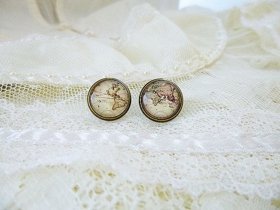 Retro world map stud earrings world map earrings antique map retro world map stud earrings world map earrings antique map retro world map world map old world map traveler continents globe gumiabroncs Gallery
