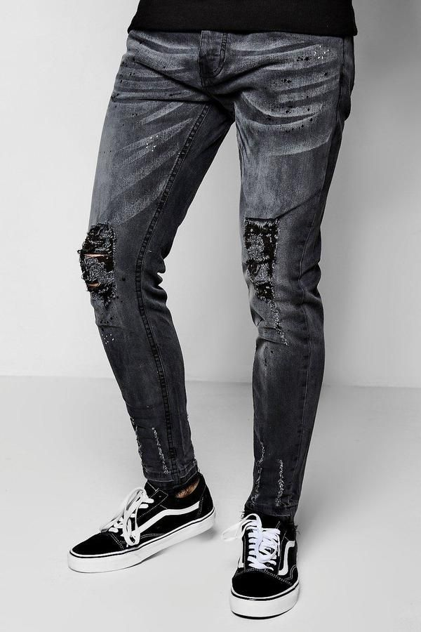 4b3b0f348ce1 Washed Black Skinny Fit Jeans With Distressed Knee in 2019 | 男裤 ...