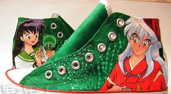 InuYasha anime Shoes Converse Custom Shoes by custompaintedshoe, $69.00