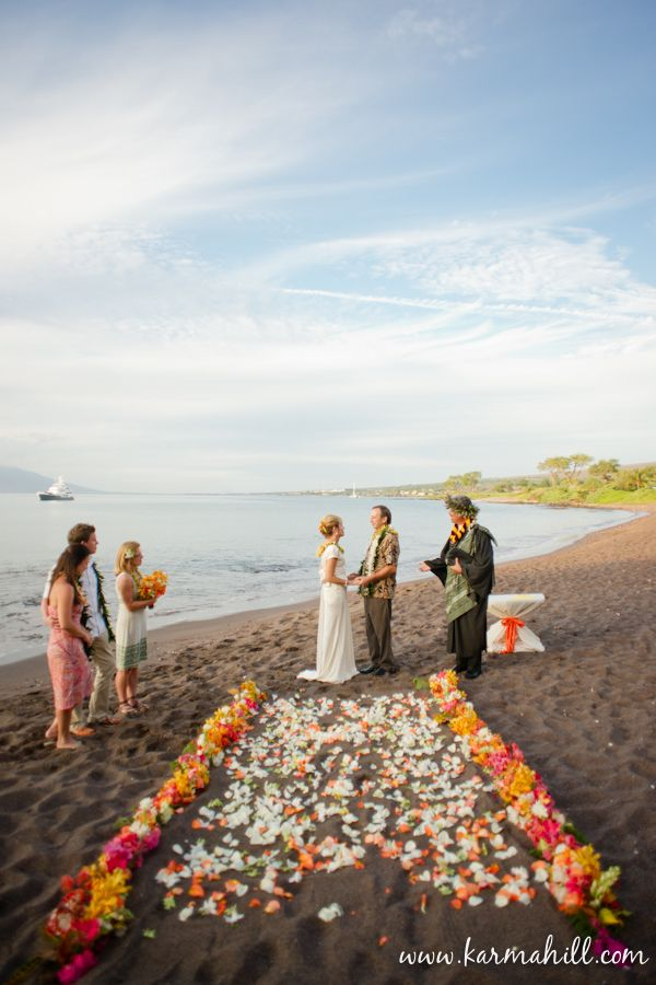 Jean And Richard Exchange Their Vows At Makena Black Sand Beach Intimate Wedding Planned By