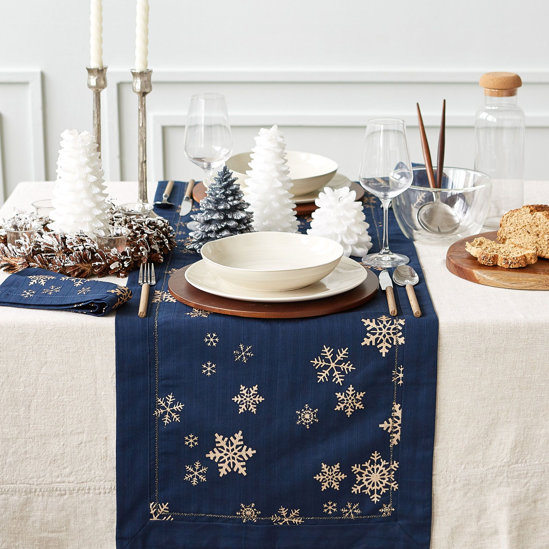 Image 1 Of The Product Snowflake Print Table Runner Copper Christmas Decor Copper Christmas Table Printed Table Runner