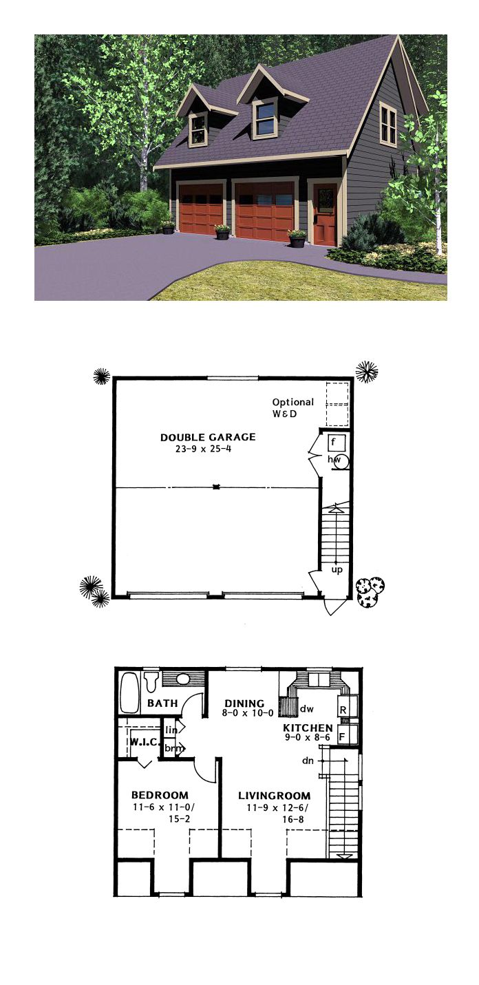 Modern Style 2 Car Garage Apartment Plan Number 51493 with 2 Bed, 1 Bath