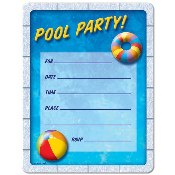 pool party invitations free printable