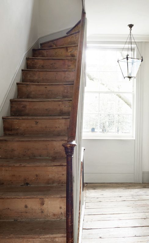 ... Vintage Early American Farmhouse Showcases Raised Panel Walls, Barn  Wood Floor, And A Simple Style For Moulding And Trim, Like This Farmhouse  Staircase.