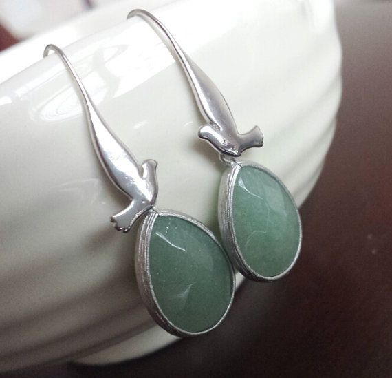 Silver Earrings Green Earrings Jade Earrings Framed by SimplySleek, $28.00
