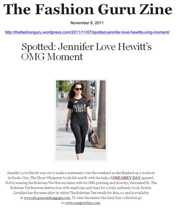 The Fashion Guru  Jennifer Love Hewitt wearing One Grey Day's Bohrium Tee after a workout in Studio City