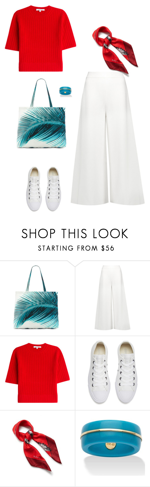 """White pants (Outfit only)"" by isidora ❤ liked on Polyvore featuring Amuse Society, STELLA McCARTNEY, Carven, Converse, Mulberry and Palm Beach Jewelry"