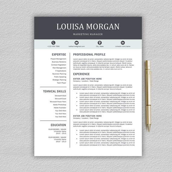 Professional Resume Template for Word 1 and 2 Page Resume - professional profile template
