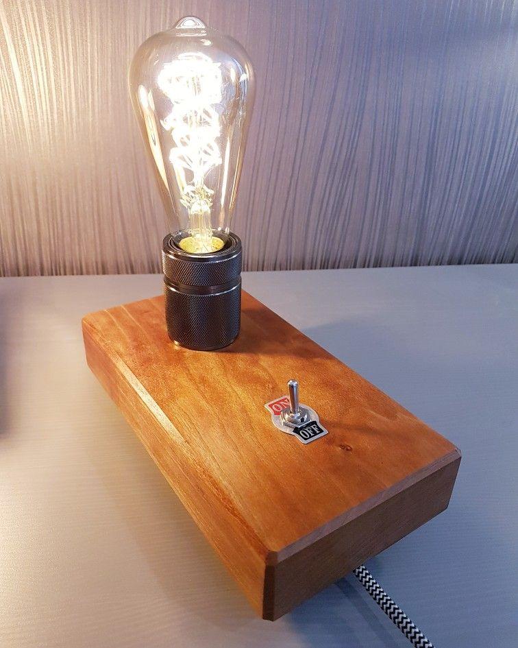 Tischlampe Edison retro Meranti Holzarbeiten, Holz