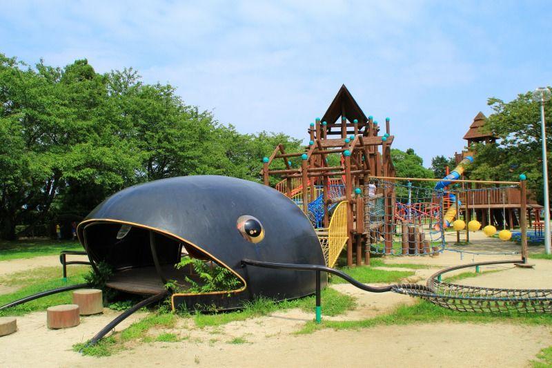 行ってきた 滋賀県観光と子どもの遊び場150ヶ所以上の訪問体験記 びわ湖こどもの国へ行ってきた 高島市 ナマズの大型遊具や冒険水路 クライミング体験 ナマズ 滋賀 観光 遊び場
