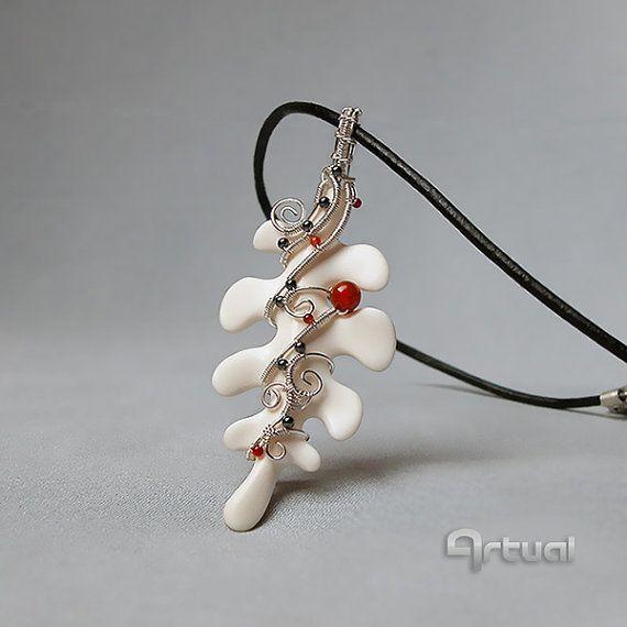 Wire jewelry bone pendant wire wrap jewelry wired by Artual ...
