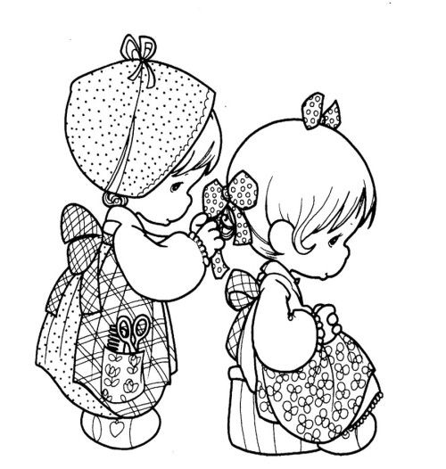 Precious Moments Wearing The Same Costume Coloring Pages | Kids ...