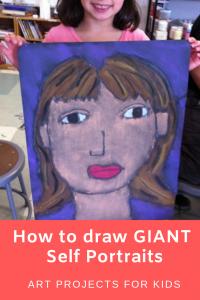 Giant Chalk Self Portrait   Art lesson ideas   Self portrait